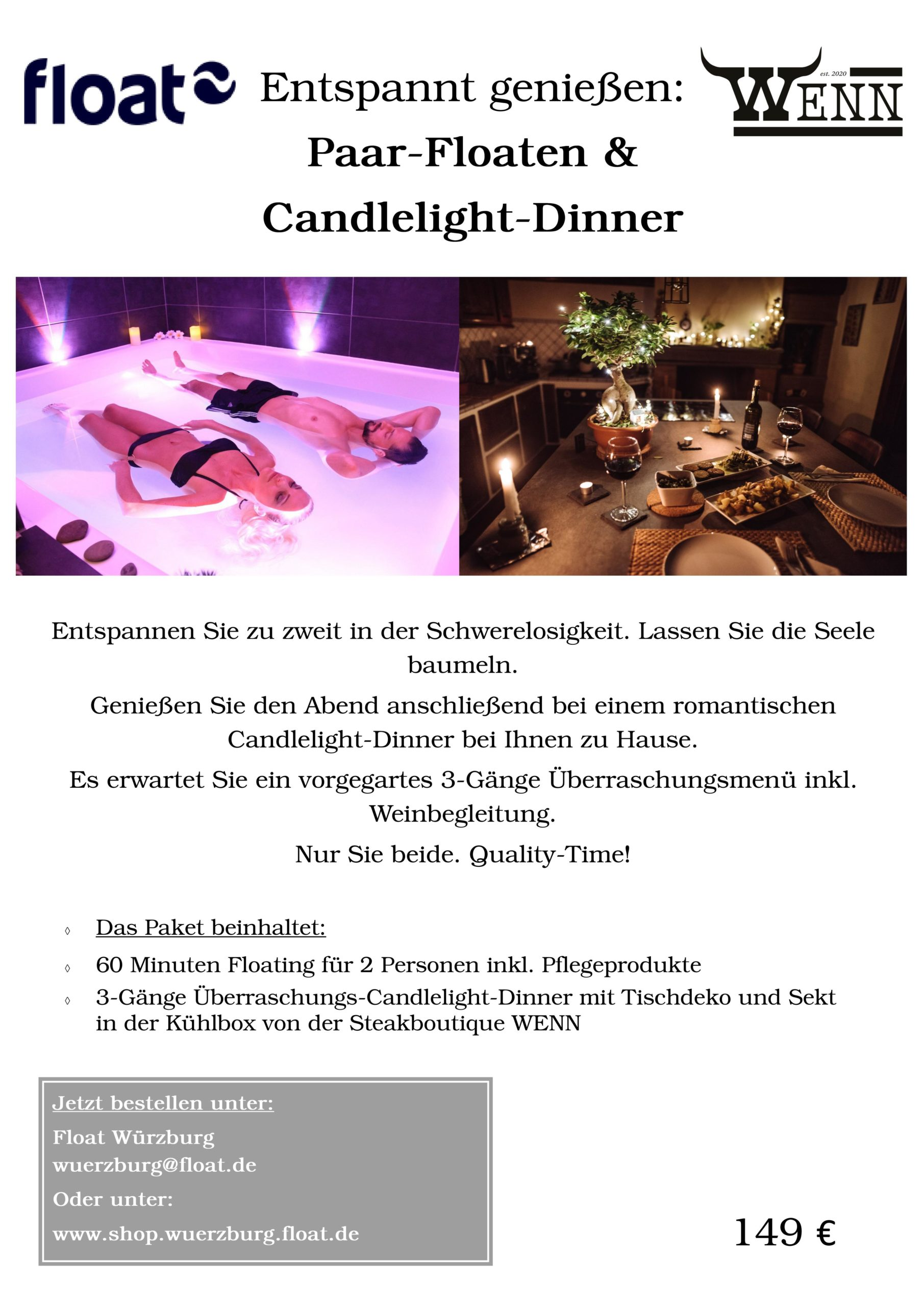 Paar-Floaten & Candlelight-Dinner